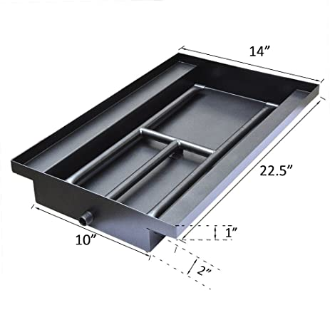 Amazon.com: Stanbroil Powder Coated Steel Fireplace Box Pan with Dual Flame H Burner: Garden & Outdoor