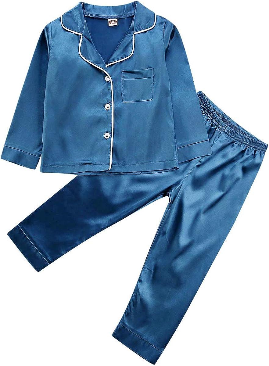 PDYLZWZY Kleinkind Baby M/ädchen Junge Satin Seide Pyjama Langarm Pjs Nachtw/äsche Loungewear Outfit Kleidung Set