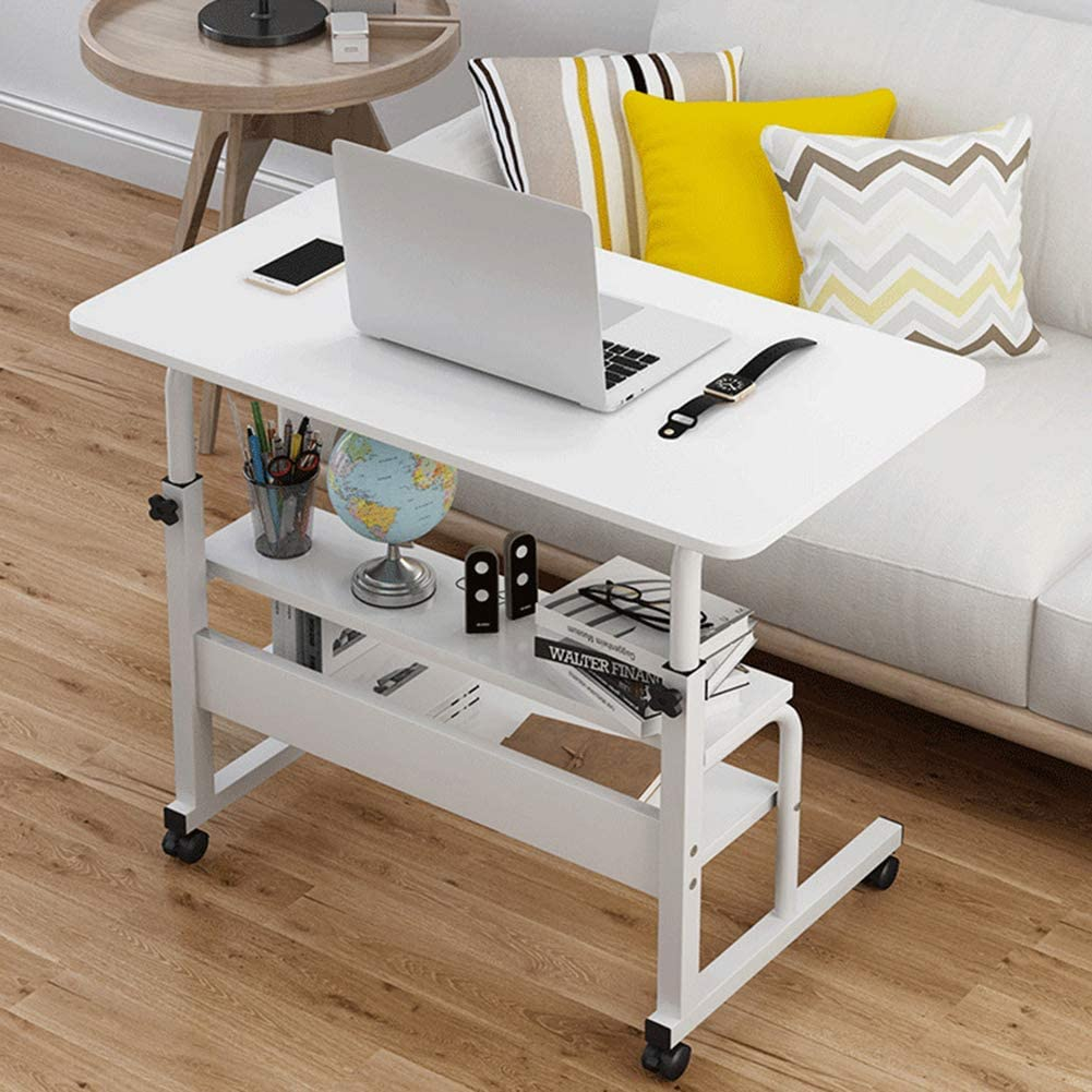 ZPEE Stand Metal Frame Computer Desk,Adjustable Bedside Sofa Laptop Pc Table,Waterproof Study Writing Desk,for Home Office Dormitory White 60x40cm(24x16inch)