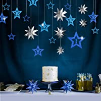 Decor365 Blue Silver Star Party Decoration Kit Metallic Glitter 3D Star Garland Twinkle Little Star Cutouts Starry Party…
