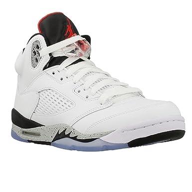 new style a3d56 8e910 Nike Herren High Top Schuhe Jordan V Weiss Cement BG in Weißem Leder  440888-104