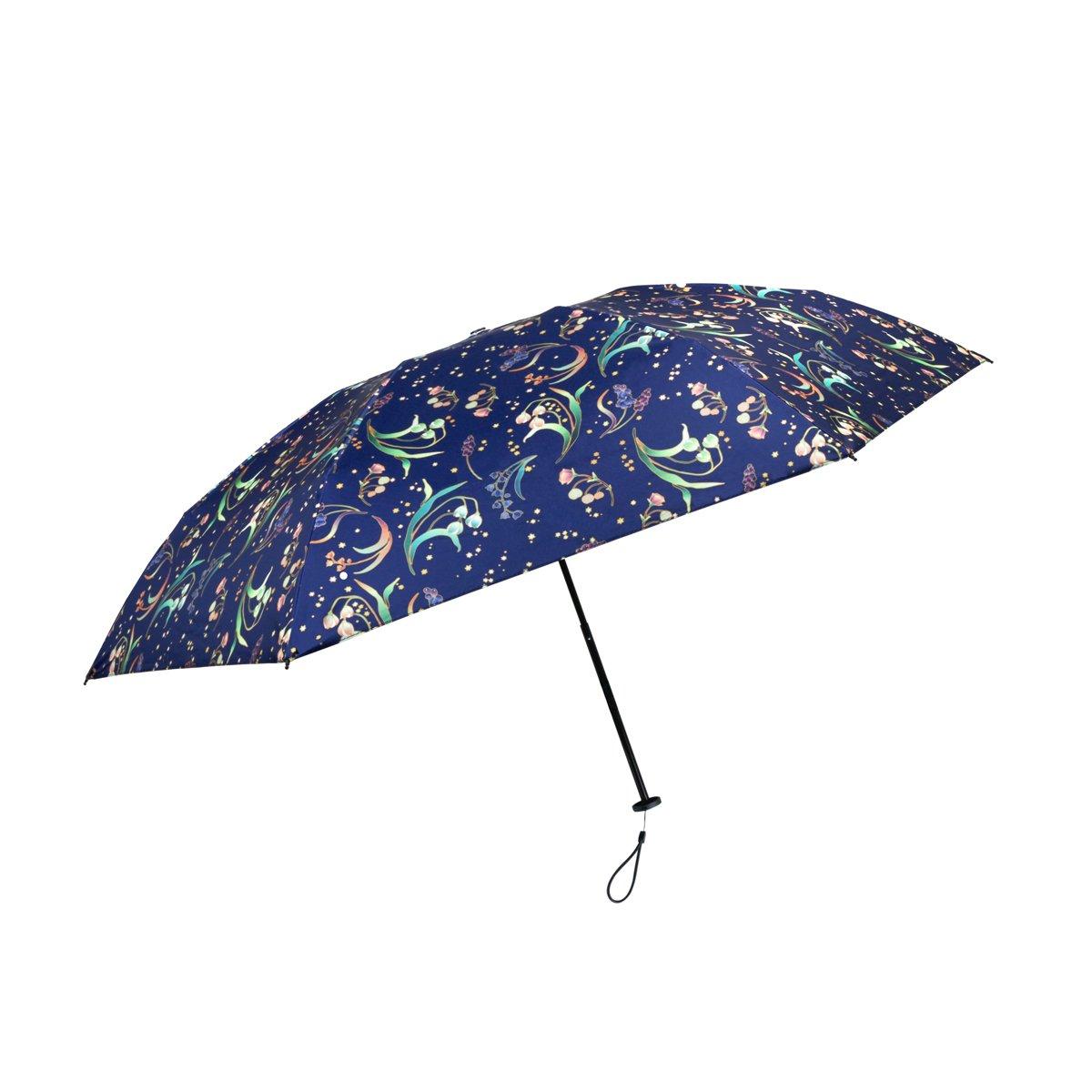 【CARRY Umbrella Moose】完美なる折り畳み傘 晴雨兼用 UVカット99.9% 遮光率100% 遮熱効果 耐水度2000 おしゃれ 晴雨兼用 折りたたみ傘 軽量150g カーボンファイバー 吸水ケース付き (夜空のカンパニュラ) B074WNRW71