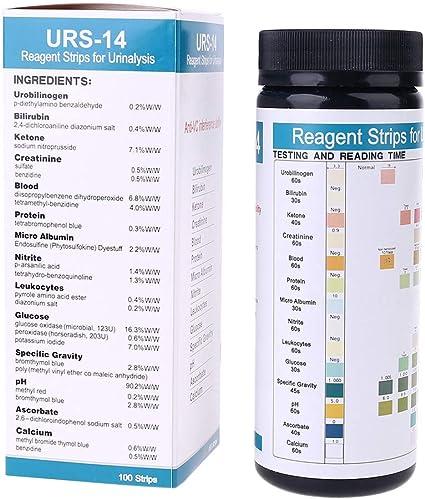NAIXUE 100 Tiras De Papel De Prueba De Orina URS-14 Tira 14 Parámetros Cetona Calcuim Glucosa