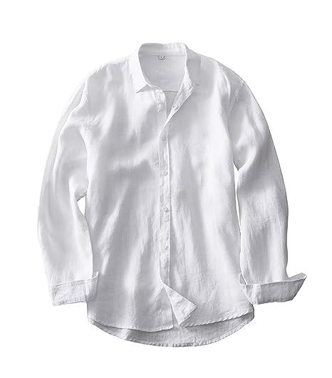 dda4598b03aca Insun Homme Chemise Casual en Lin Manches Longues avec des Coudières:  Amazon.fr: Vêtements et accessoires