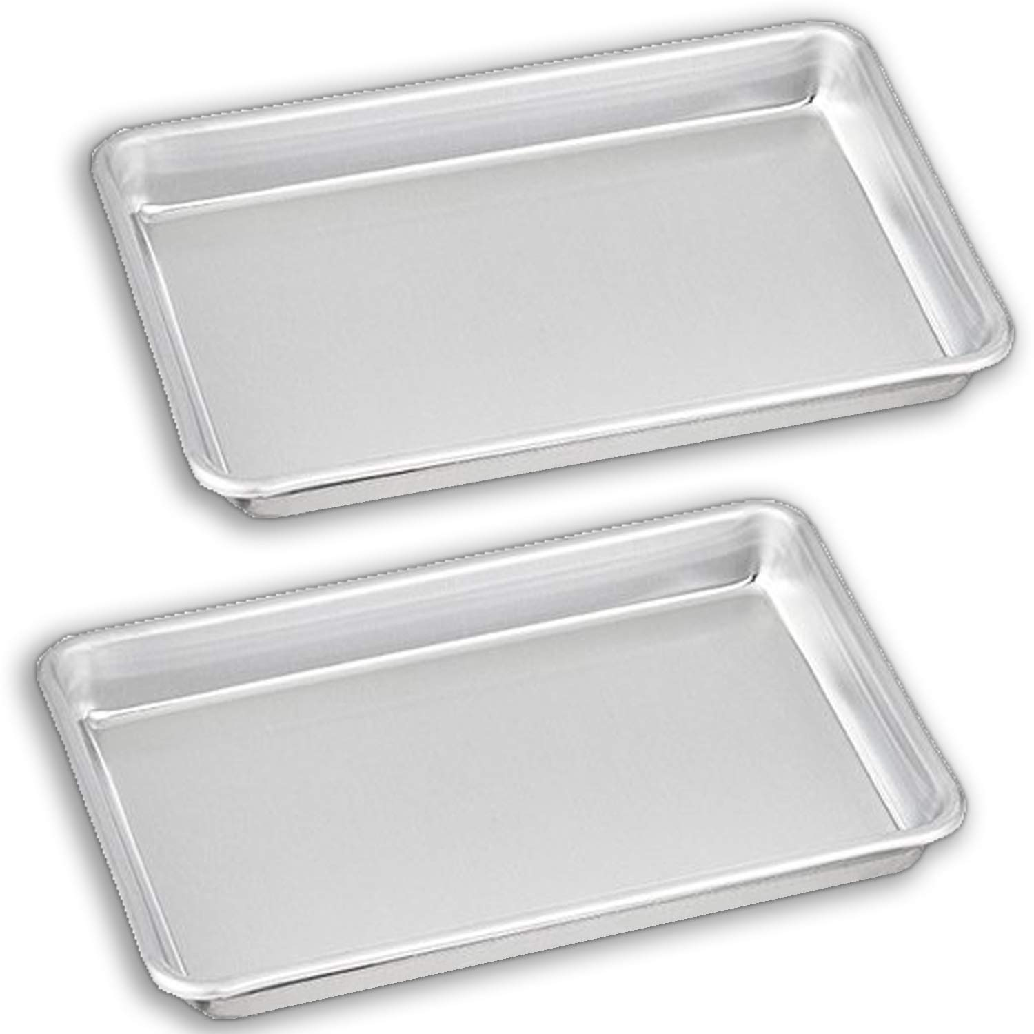 """Bakeware Set – 2 Aluminum Sheet Pan – 1/8 Size (6.5"""" x 9.5"""") – for Home Use. Perfect Size For Your Microwave Oven, Non Toxic, Perfect Baking Supply set for gifts, for new and experienced bakers alike"""