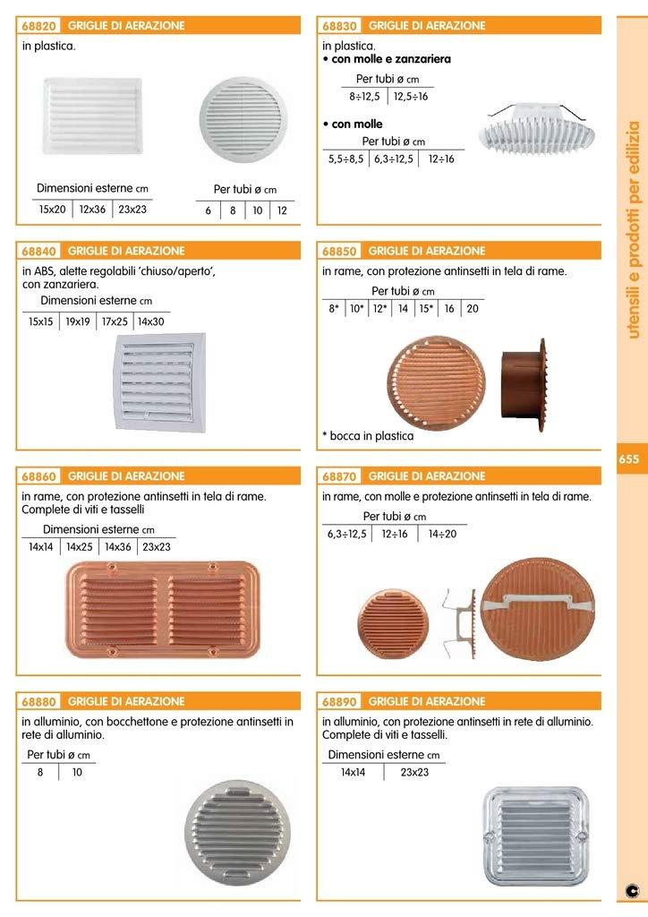 4PZ GRIGLIA AERAZIONE IN PLASTICA CON MOLLE+ZANZARIERA DIAMETRO 12-16CM