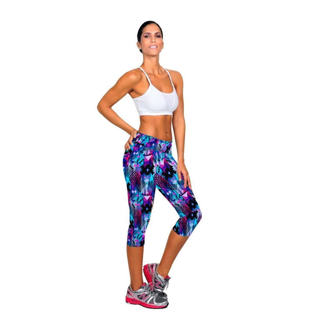 612dc02cb9295 Koly Women s High Waist Fitness Yoga Sport Pants Printed Stretch Cropped  Trousers product image