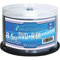 Optical Quantum 8X 8.5GB DVD+R Double Layer Blank Disc White Thermal Hub Printable, 50 pcs