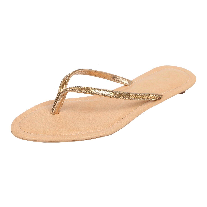 Catwalk Golden Slip-On Sandals for Women