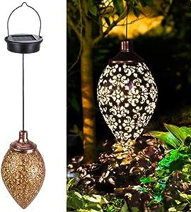 Hanging Solar Lights Outdoor Garden LED Lights Waterproof Decorative Metal Light for Patio Pathway Courtyard Garden