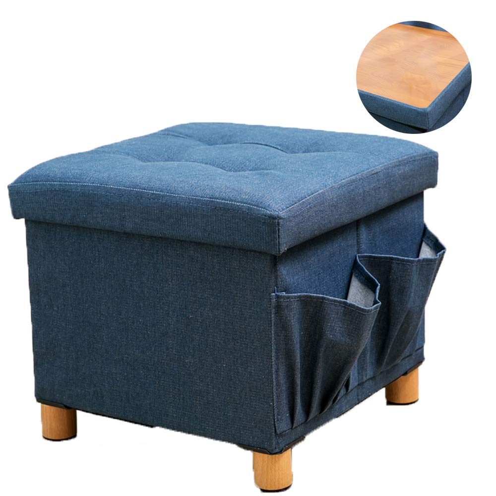 WALTSOM Folding Storage Ottoman, Cube Footrest Seat Stool Coffee Table with Woode Feet, Side Pockets, Double Sides Lid, Soft Padding for Home and Office, 15''X15''x15'' (Blue) by WALTSOM