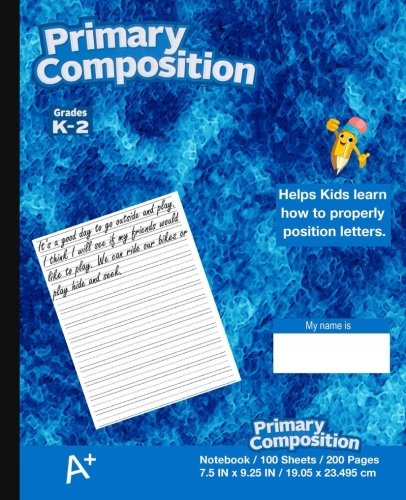 Primary Composition Notebook: Kids school supplies, Blue