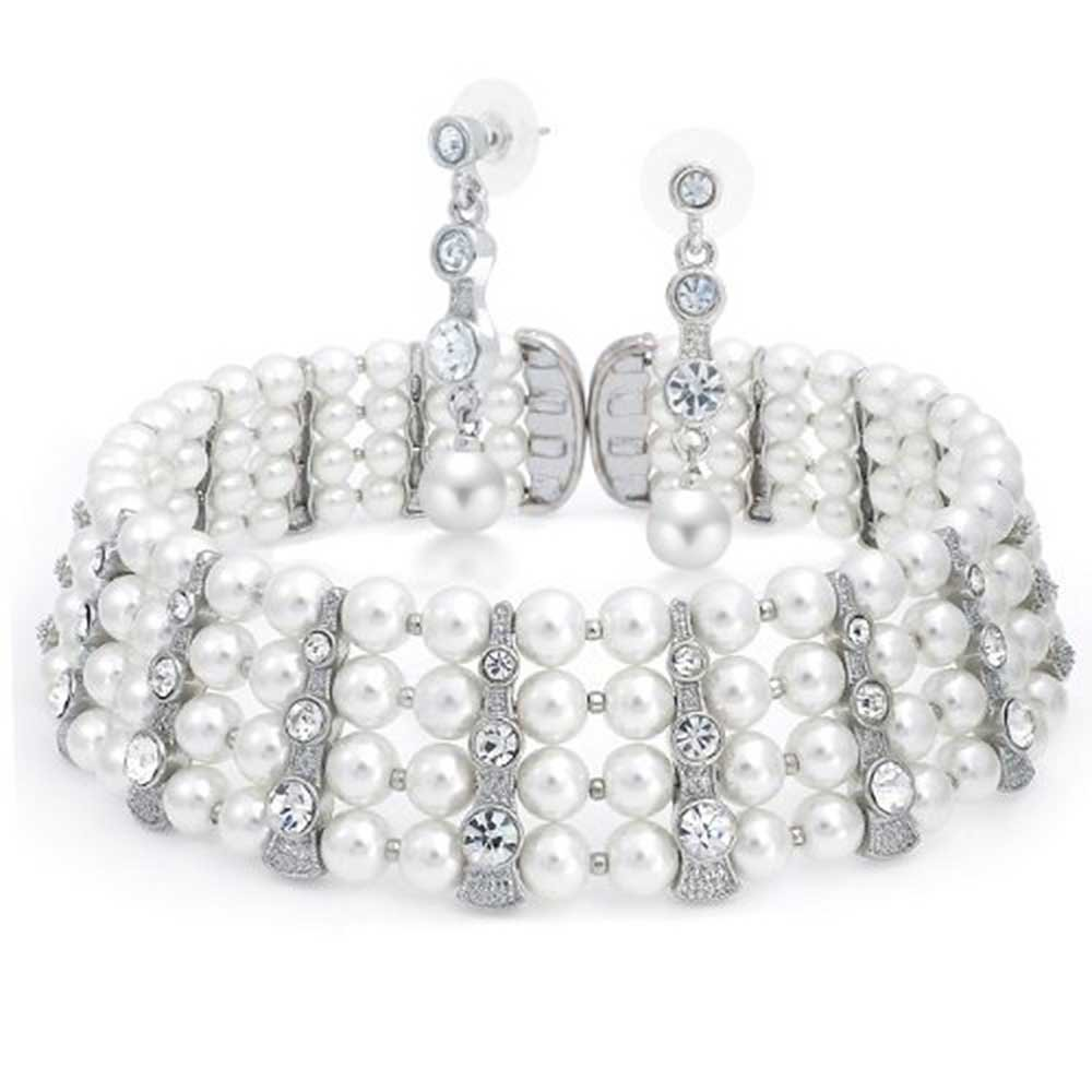 Bridal Crystal Bar White Simulated Pearl Statement Choker Earring Necklace Jewelry Set for Women for Prom Flexible