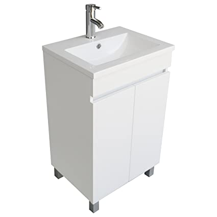 BATHJOY Modern White Single Wood Bathroom Vanity Cabinet With Undermount  Vessel Sink Combo Faucet Drain