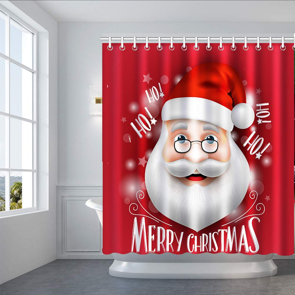 Size:35~73 Inch Bnxbb Design Merry Christmas Shower Curtain Set Snowman Santa Claus Standing Under The Christmas Tree Bathroom Decor Long Pink, 35 x 72 x 72 Inch with 12 Hooks Wide
