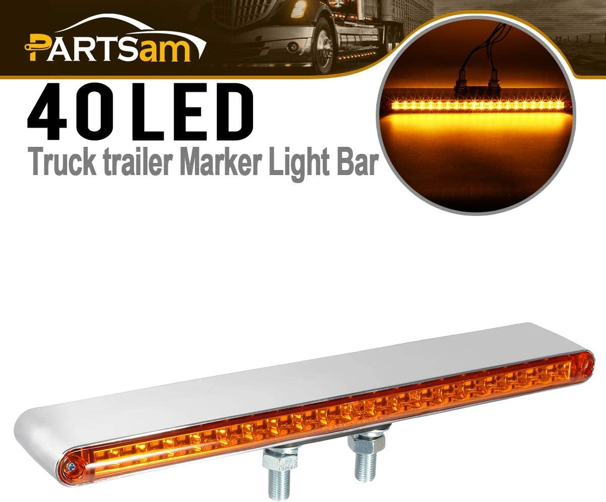 Partsam 1Pc 12 Double Face 20 LED Auxiliary Light Bar Pedestal Lights Turn Signal and Marker Lights Truck Trailer Stud Mount Amber Front Amber Back