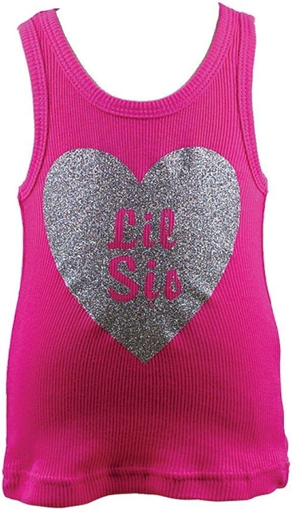 reflectionz Little Girls Hot Pink Glitter Silver Lil Sis Heart Tank Top 2T-8