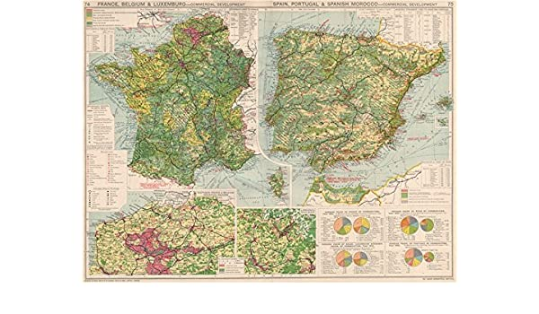 Map Of Spain Portugal And France.Amazon Com France Belgium Spain Portugal Commercial Development