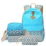 Vezela® Set of 3 Casual Lightweight Canvas Laptop Bag - Light Blue Color Laptop Bag in Backpack for School / Collage