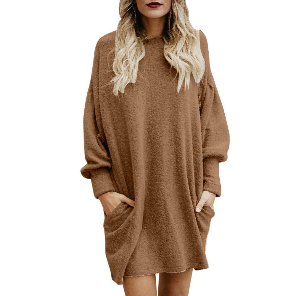 MEIbax Damen Einfarbig O-Neck Taschen Pullover Frauen Langarm Sweatshirt Wollpullover Langer Tunika