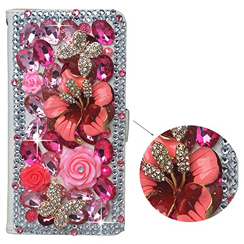 sung Galaxy Note 4,PU Leather Wallet Phone Case 3D Handmade Bling Pink Crystal Design Flower Butterfly Decorated Sim Folding Protected Smartphone Cover with Card Slots ()