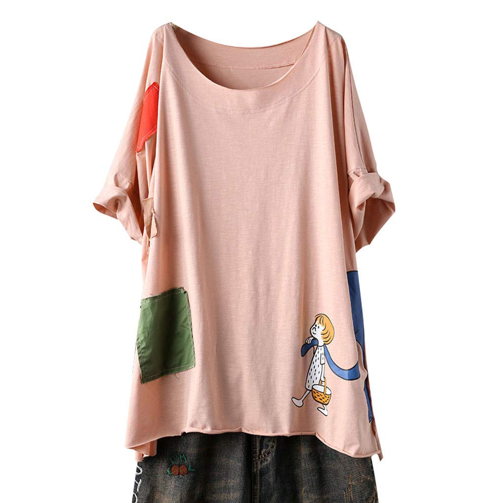 Nadition Ladies Loose T-Shirt ❣ Women's Plus Size Cartoon Print Short Sleeve Color Block Splice Tops Summer Blouse