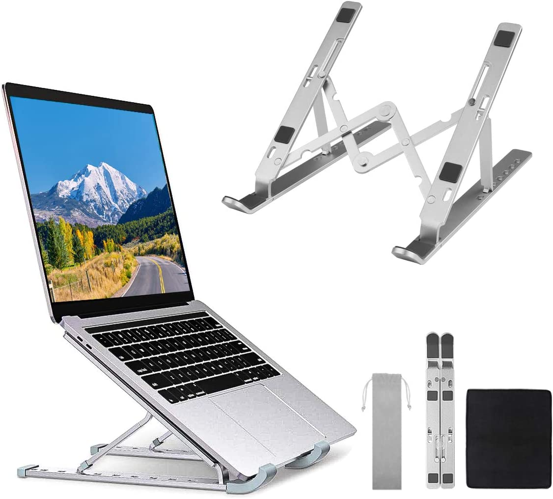 FancyWhoop Laptop Stand Adjustable Portable Laptop Holder Aluminum Alloy Desktop Mount for MacBook Air Pro, Dell XPS, HP, Lenovo More 10-15.6 Inch Notebook Tablet with Mouse Pad (Silver)