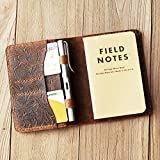Personalized full grain Tooled Leather Refillable Composition Notebook Cover for pocket size Field Notes with pen holder 3.5''x5.5''