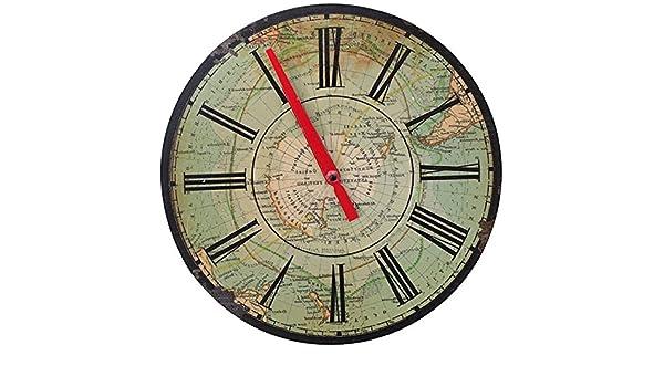 Y-Hui Retro ¿Los antiguos relojes de pared Decoración de pared Reloj de pared mapa náutico del hotel Cafe Deco Reloj de pared, 12 pulgadas, RELOJ NÁUTICO: ...
