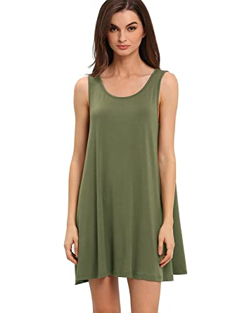 ROMWE Women's Casual T-Shirt Sleeveless Swing Dress Tunic Tank Top ...