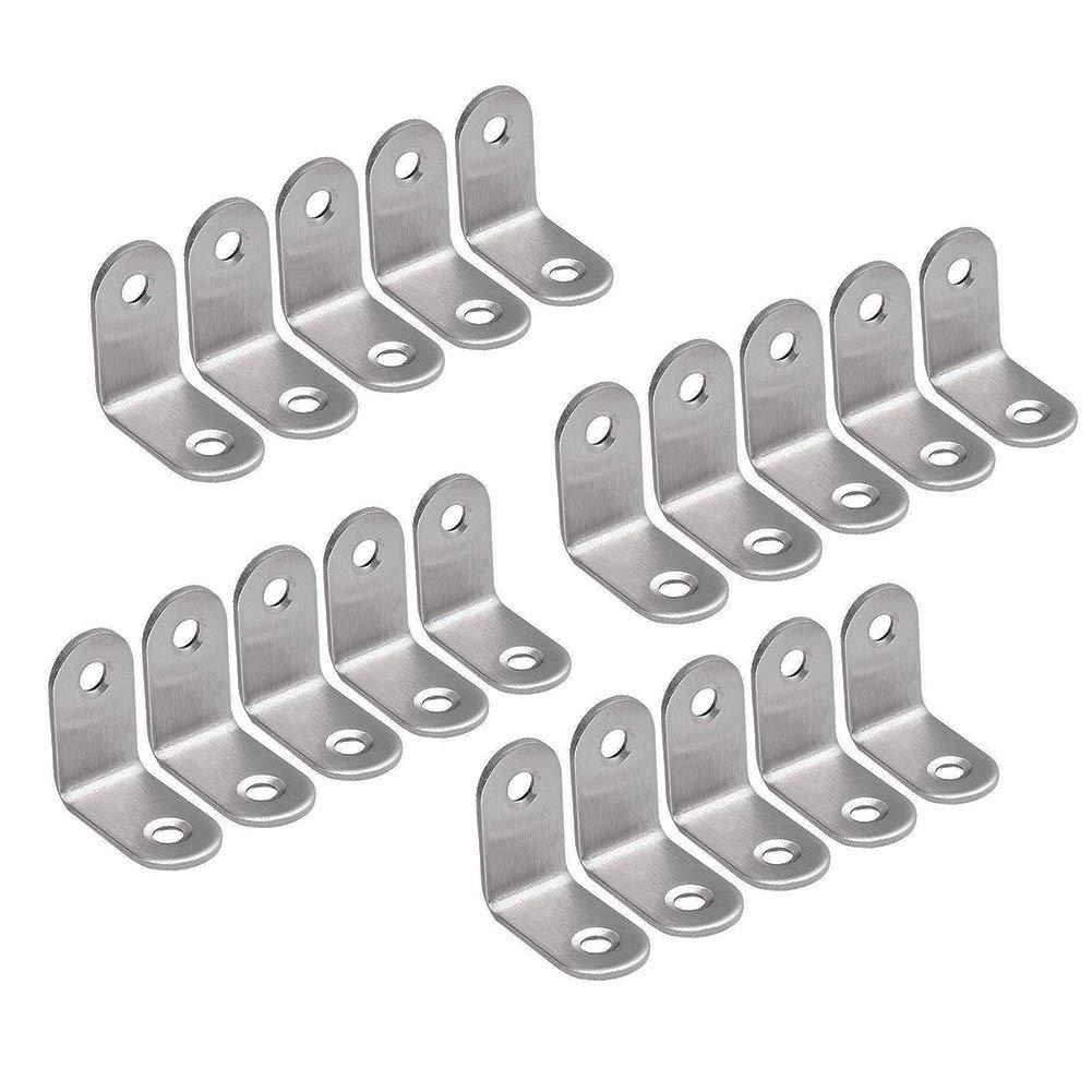 BTMB 20 Pcs Stainless Steel 90 Degreed Corner Brace Metal Joint Right Angle Brackets Fastener 30x30mm 1.18''x1.18''