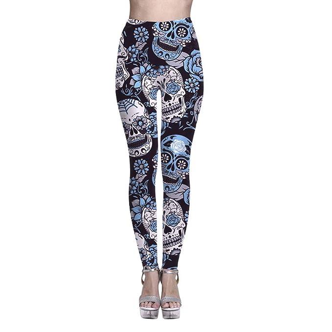a7e58b462c MEIbax Leggings Deportes Pantalones para mujeres Personalidad Calavera  Pintada Estampado 3D Imprimir Fitness Gym Yoga de Cintura Alta deportivos  largos ...