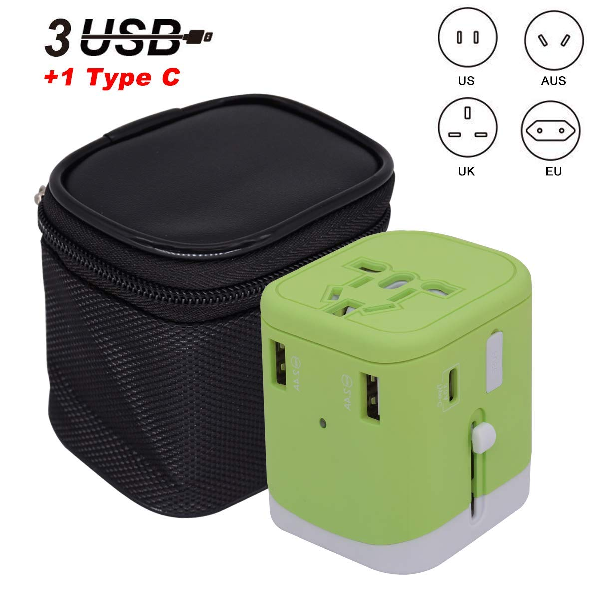 Universal Travel Adapter, Worldwide All-in-one International Power Adapter 2.4A 4xUSB Wall Charger,European Adapter,Travel Adapter for US EU UK AU & Asian Countries (Green)