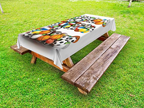 Ambesonne Letter E Outdoor Tablecloth, ABC of Sports Concept Different Gaming Balls First Name Initial Monogram Design, Decorative Washable Picnic Table Cloth, 58 X 104 Inches, Multicolor (Monogram Tablecloth)