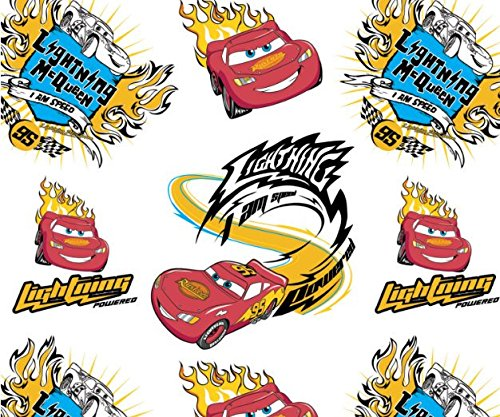 Disney Cars I Am Speed in White Fabric Sold by the (Lightning Mcqueen Fabric)