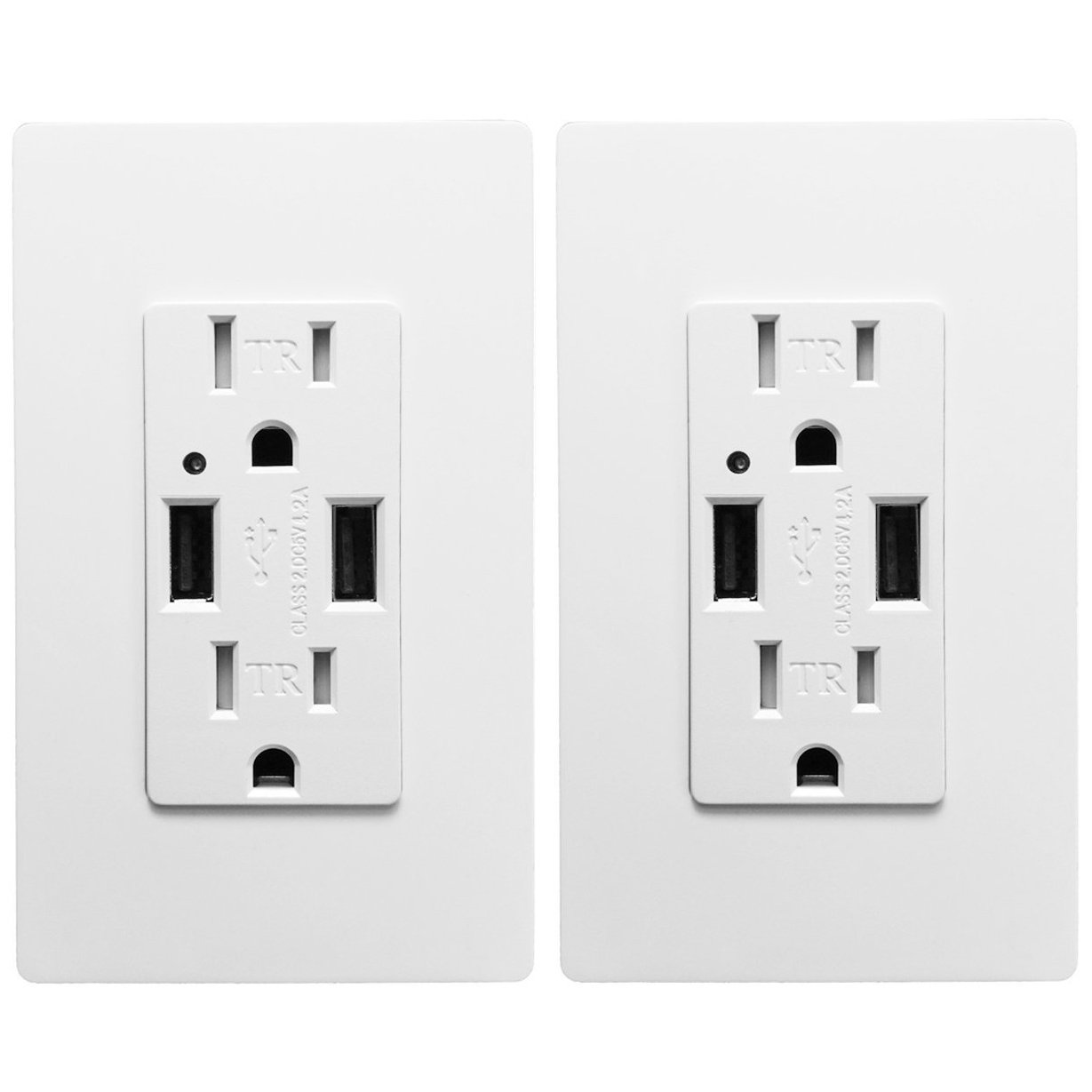 Outlet with USB High Speed Charger 4.2A Charging Capability, Child Proof Safety Duplex Receptacle 15 Amp, Tamper Resistant Wall socket plate Included UL Listed MICMI U24 (4.2A 2pack)