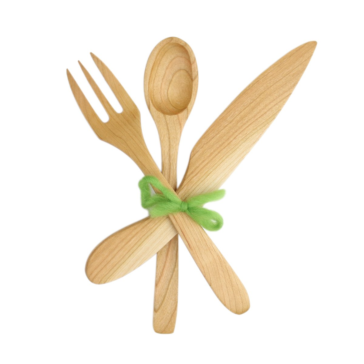 Adult Cherry Wood Flatware: Spoon, Fork, Knife (Eating Utensils) (Cherry Wood)