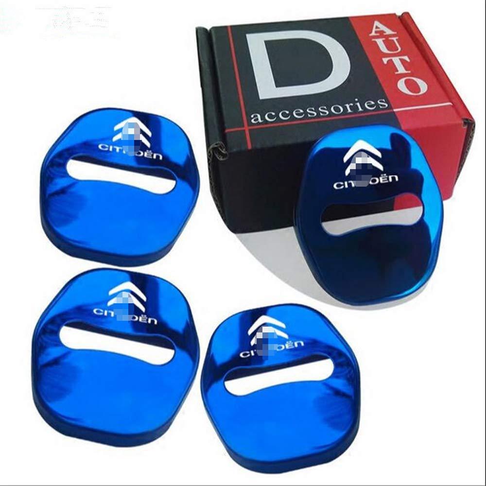 LAUTO Cubierta Protectora de Acero 4pcs Set Inoxidable de Coches Seguros de Puerta para Citroen C4 C5 C6 C3XR,Azul