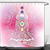 Interestlee Shower Curtain Chakra Decor Mystic Female Character with Lace Embellished Lines Solar Balance Bohemian Soft Pink