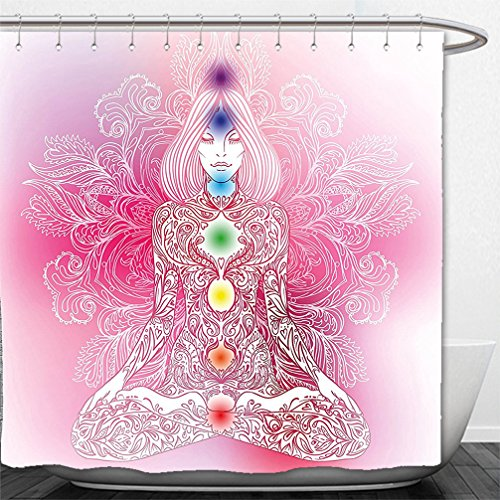 Interestlee Shower Curtain Chakra Decor Mystic Female Character with Lace Embellished Lines Solar Balance Bohemian Soft Pink by Interestlee