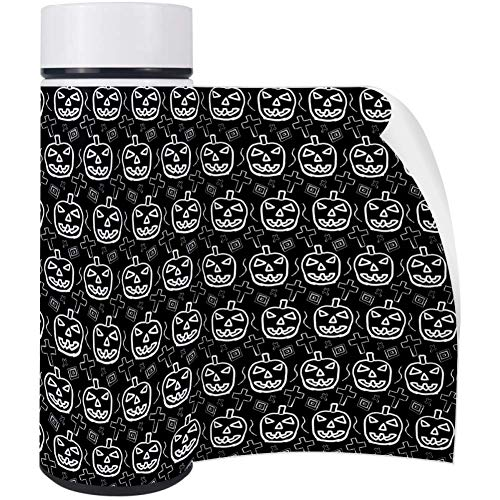 LORVIES Hand-Skected Scary Halloween Pumpkin Pattern Stainless Steel Thermos Water Bottle Insulated Vacuum Cup Leak Proof Double Vacuum Bottle, 500 ml -