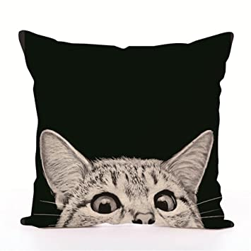 Housse de coussin décorative en forme de chat imprimé, motif chat