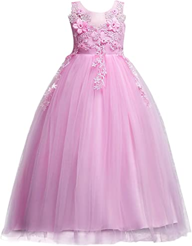 Embroidered Flower Girls Dress Applique Tutu Birthday Party Evening Ball Gown