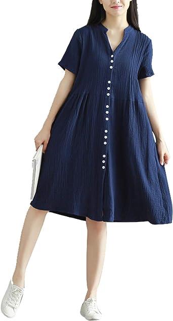 Vestido Midi Casual De Manga Corta De Algodón De Lino Vintage para Mujer: Amazon.es: Ropa y accesorios