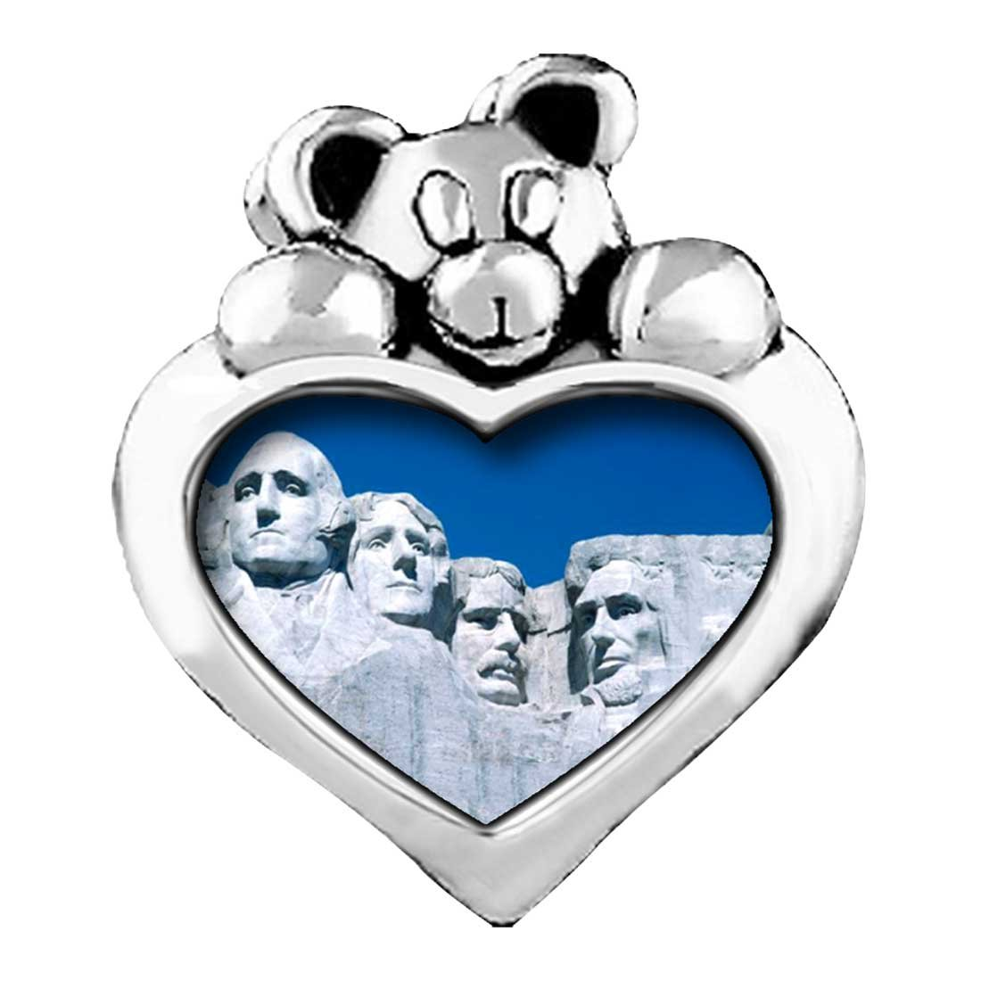GiftJewelryShop Travel Mount Rushmore Red Zircon Crystal July Birthstone I Love You Heart Care Bear Charm Bracelets