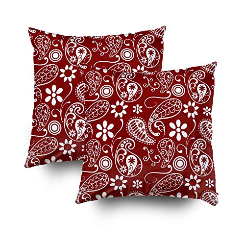 Musesh Pack of 2 dark red paisley floral Cushions Case Throw Pillow Cover Sofa Home Decorative Pillowslip Gift Ideas Household Pillowcase Zippered Pillow Covers 18X18Inch