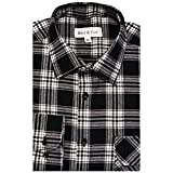 Boot & Cod Men's Black Modern Fitted Long Sleeve Button Down Flannel - Large