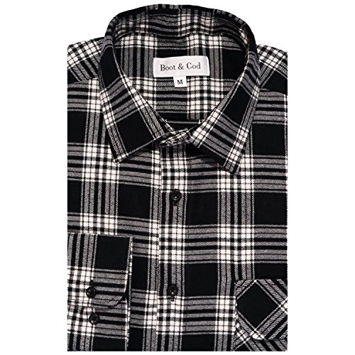 Boot & Cod Men's Black Modern Fitted Long Sleeve Button Down Flannel - (Mens High Boot Tops)