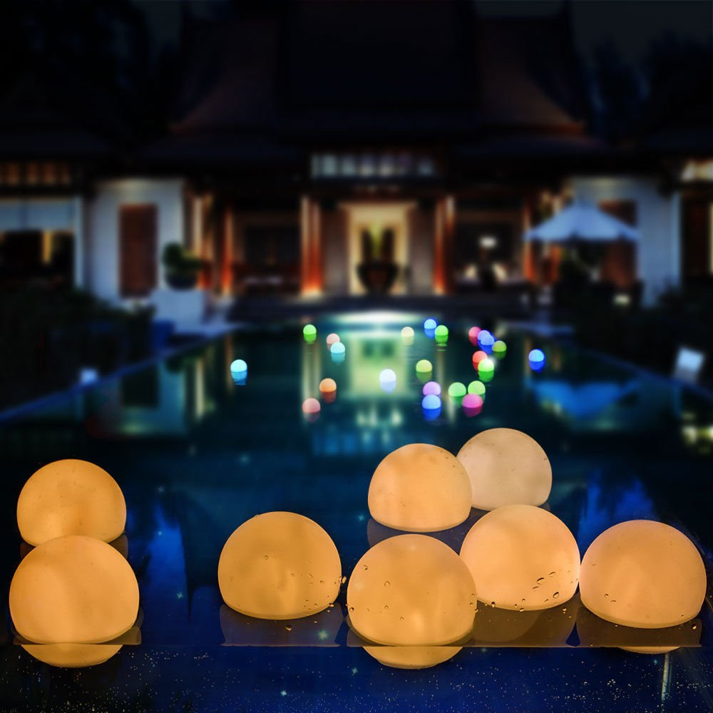 AGPTEK Flashing LED Ball Light, Warm White Floating Waterproof Mood Light Garden Decoration/Pool/Pond/Party (Pack of 12)