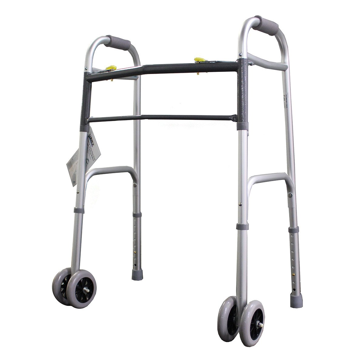"""Lumex 604070W Imperial Collection Dual Release X-Wide Folding Walker with 5"""" Wheels, Pack of 2"""